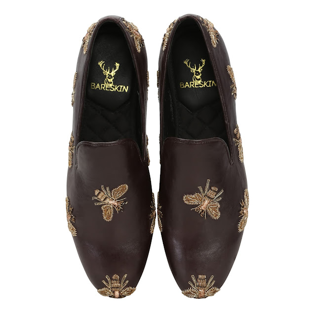 BARESKIN BROWN LEATHER SLIP-ON SHOES WITH HONEY BEE COPPER GOLD ZARDOSI EMBROIDERY