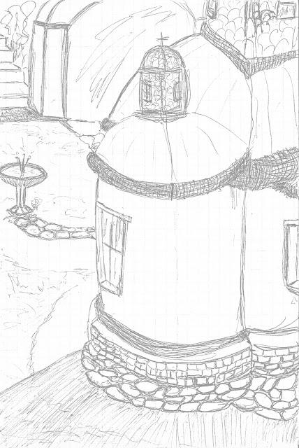 Ι. Μ. Μεγίστης Λαύρας - Πίσω από το Ιερόν 1 - Σχέδιο με στυλό μελάνης, ψηφιακά επεξεργασμένο από τον Στράτο