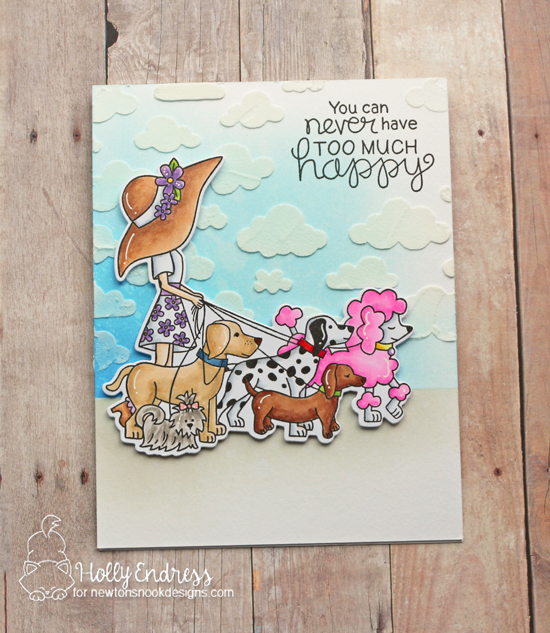 Happy Dog Walker Card by Holly Endress | Walking Woofs Stamp Set and Cloudy Sky Stencil by Newton's Nook Designs #newtonsnook #handmade