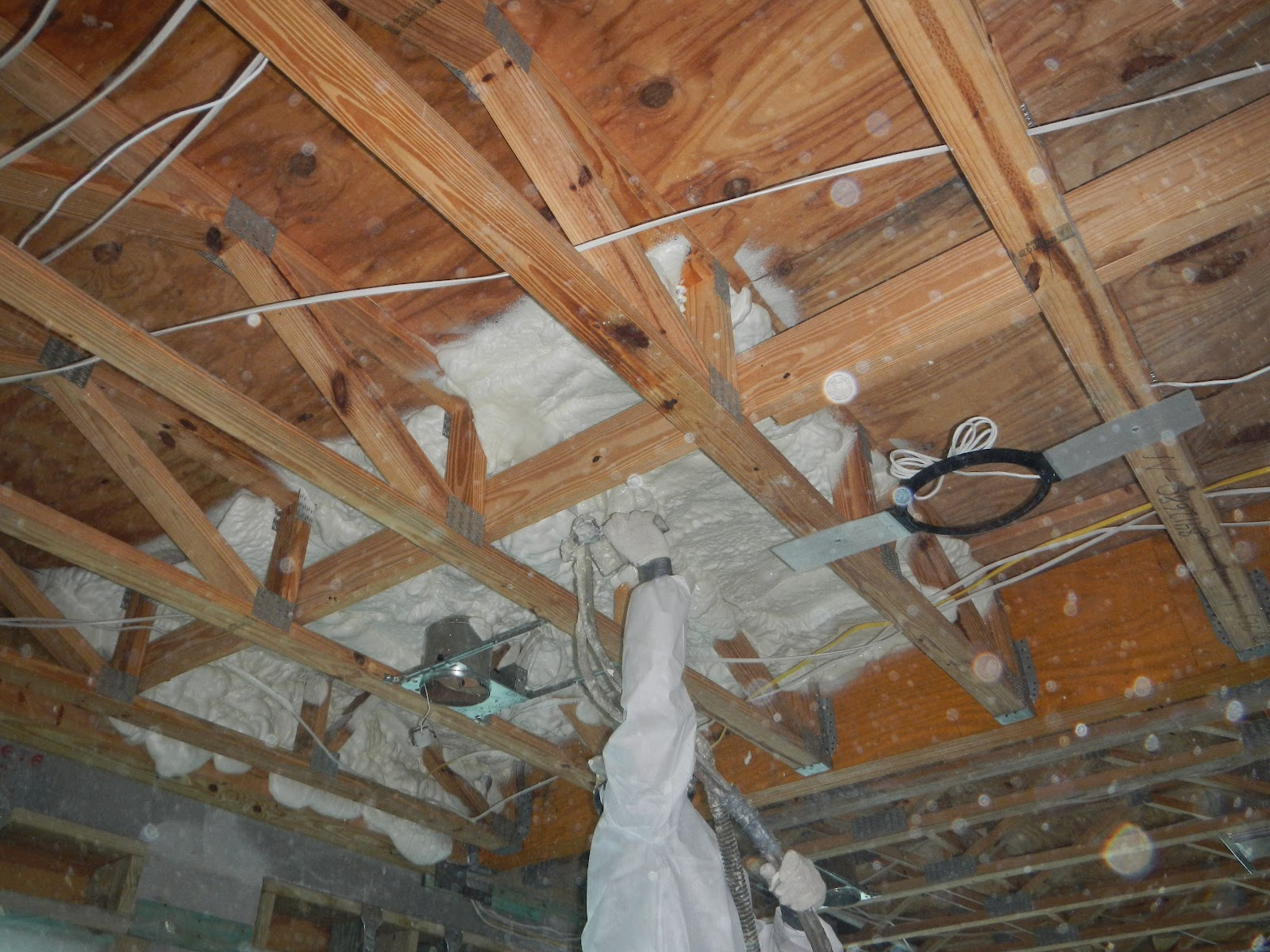 We typically install rigid insulation at the exterior walls and then nail  the furring strips over the rigid insulation.