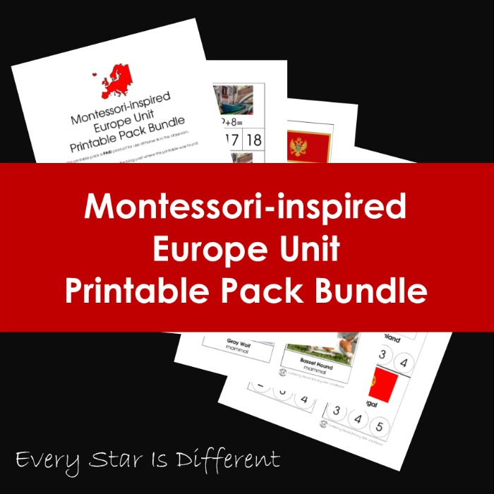 Montessori-inspired Europe Unit Printable Pack Bundle