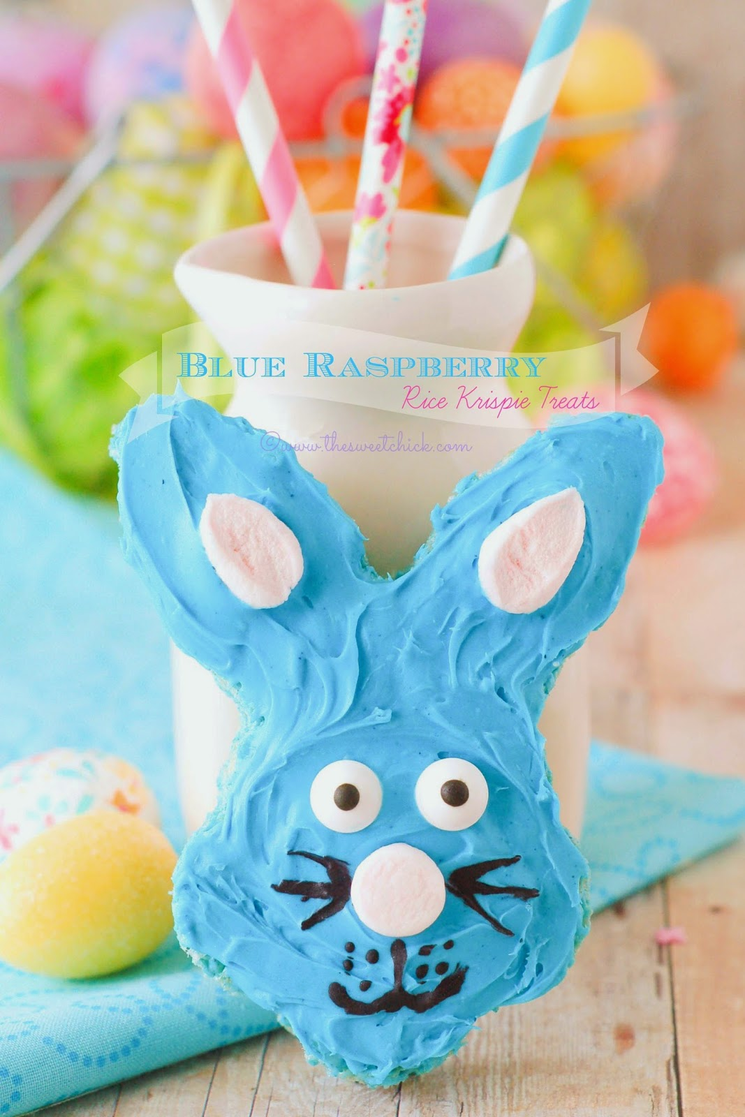 Blue Raspberry Rice Krispie Bunny by The Sweet Chick