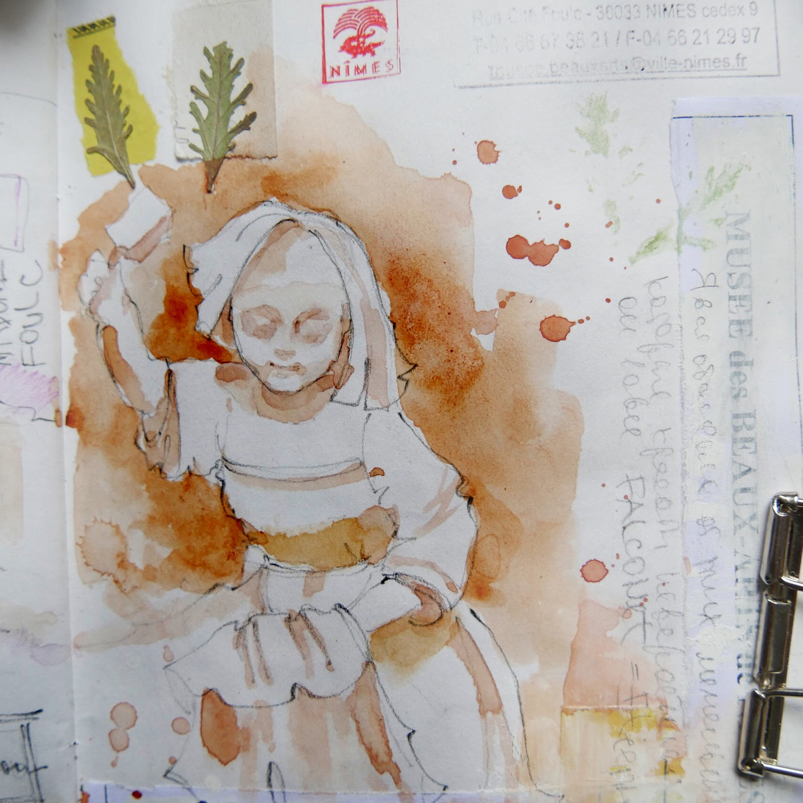 Watercolor sketchbook France Nimes  наброски франция