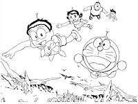 Doraemon and his friends fly using bamboo propellers