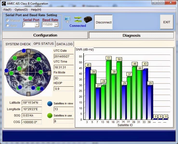 AMEC AIS amino-108 GPS-signal (fri sikt)