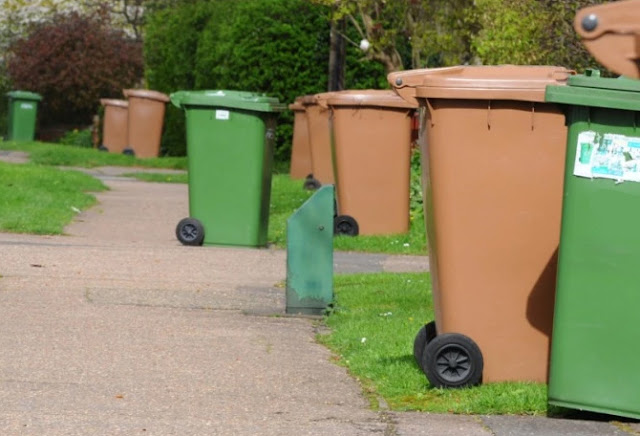 Recycling bins on a Peterborough street