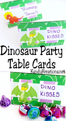 Dino-mite! These dinosaur party table cards are perfect for adding the guest's names to the dinner table. Or maybe we can use them to add funfood names to the dessert table. Or maybe we can even name the party games or party favors....the possibilities are endless. These table cards are perfect for our dinosaur party and they are free printables!