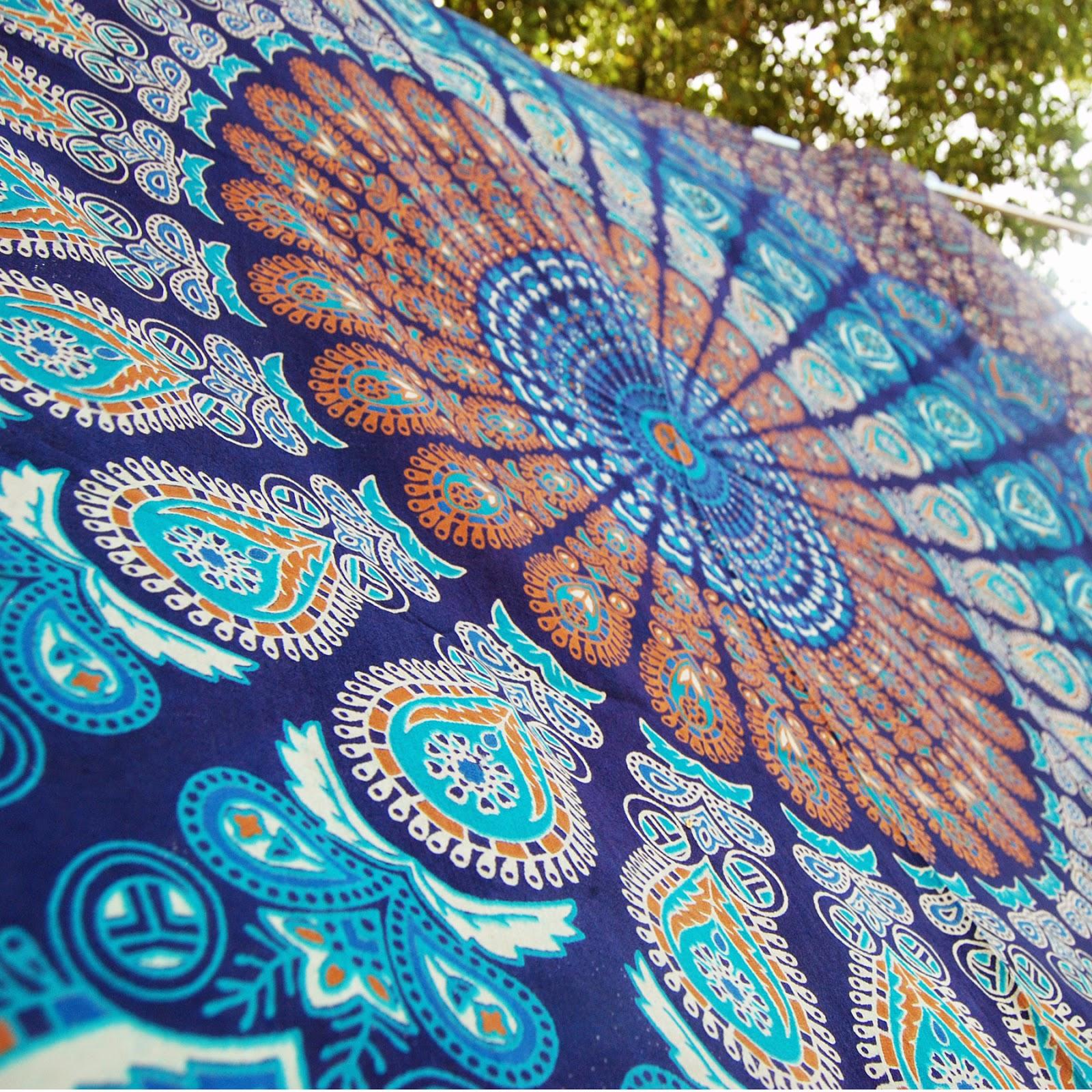 BLUE Mandala Throw, Block Print Table Cloth, Beach Tapestry, Queen Hippie  Bedding,