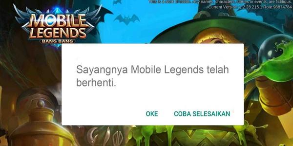 Cara Mengatasi sayangnya mobile legend telah berhenti di android 0