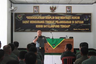 Tekan Pelanggaran, Anggota Kodim 0411/Lampung Tengah Dapat Penyuluhan Hukum