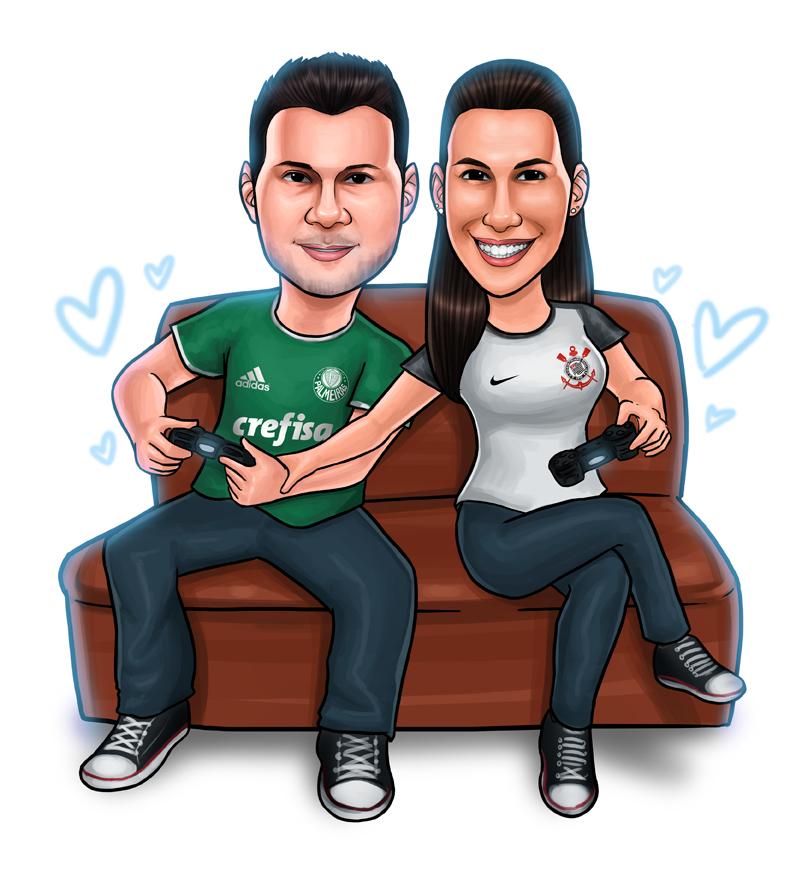 caricatura casal video game