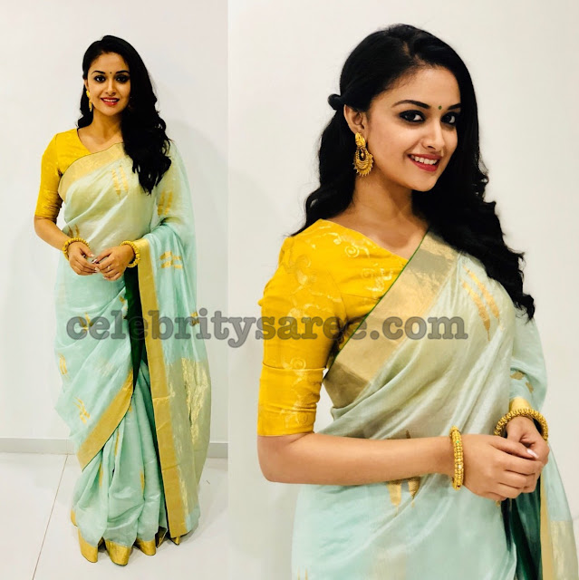 Keerthi Suresh Pastel Color Saree