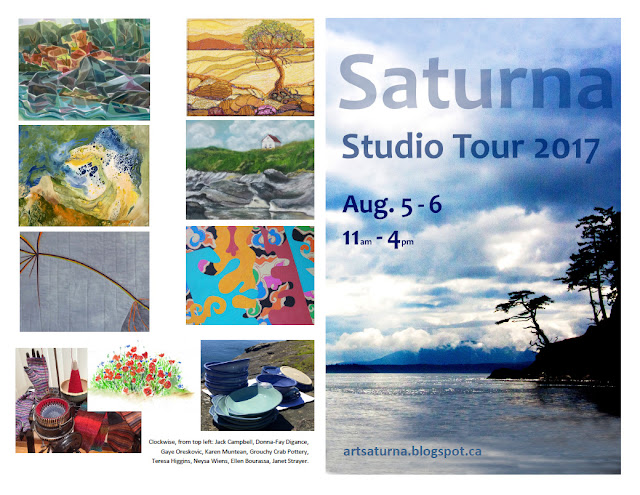 Saturna Studio Tour 2017, August 5-6, 11am to 4 pm - Map of participating studios and venues. Paintings, photography, textiles, ceramics and more.