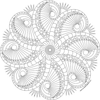 Rosemary's Jewels 2- octopus mandala to color available in jpg and transparent png versions.