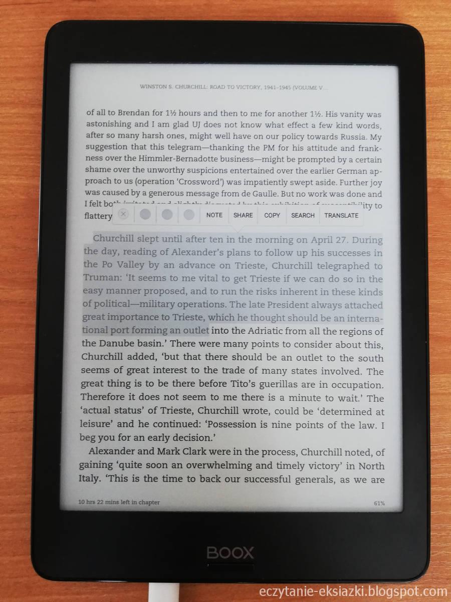 Zaznaczanie tekstu w aplikacji Kindle na czytniku Onyx Boox Nova