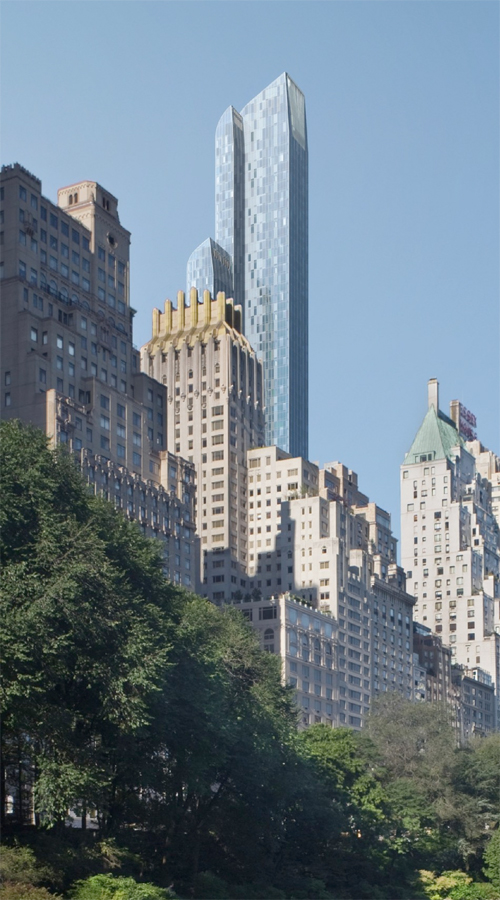 Rendering of One 57 by Christian de Portzamparc and other buildings
