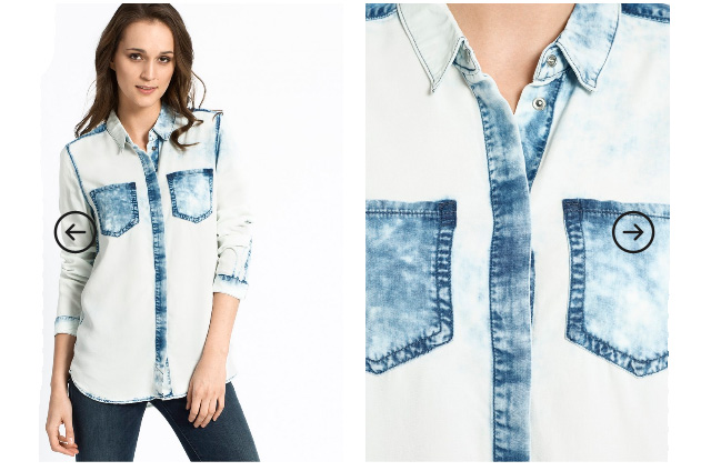 Camasa dama Calvin Klein Jeans din denim alb-albastra
