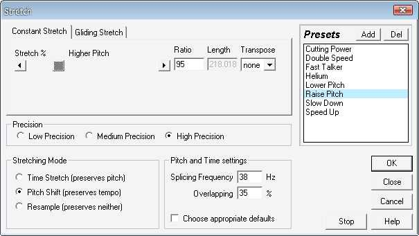 Change audio key pitch using adobe audition