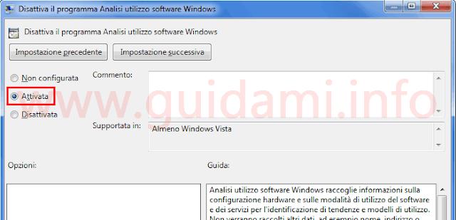 Editor criteri di gruppo disattivare programma analisi utilizzo software Windows