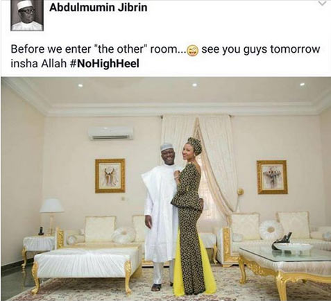 "Jibrin and his pretty wife head for ""the other room"""