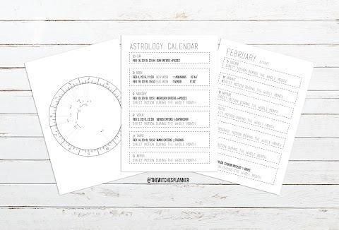 FEBRUARY ASTRO CALENDAR - FREE DOWNLOAD