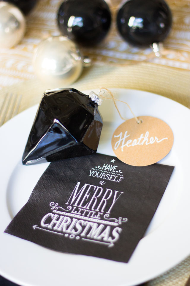 Pretty ornaments double as place cards (and a gift for guests to take home!)