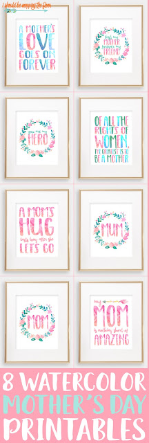 These Eight Watercolor Mother's Day Printables are perfect for gifting or decorating. Beautiful 8x10 prints sure to bring a smile to any mom's face!