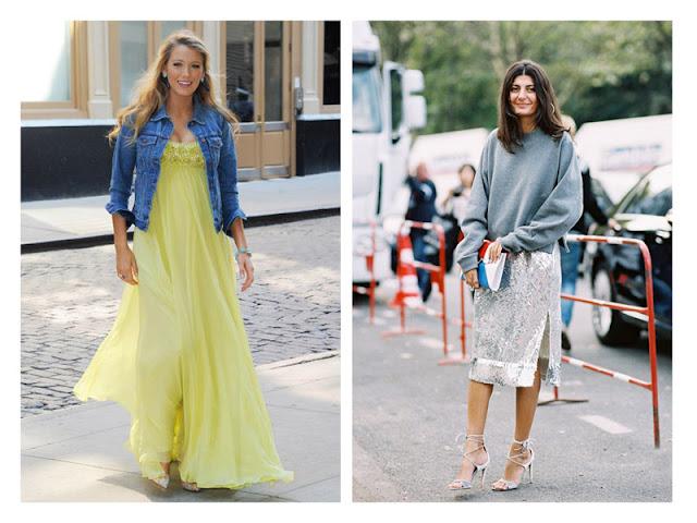 Вечернее платье с джинсовкой, юбка с пайетками со свитшотом