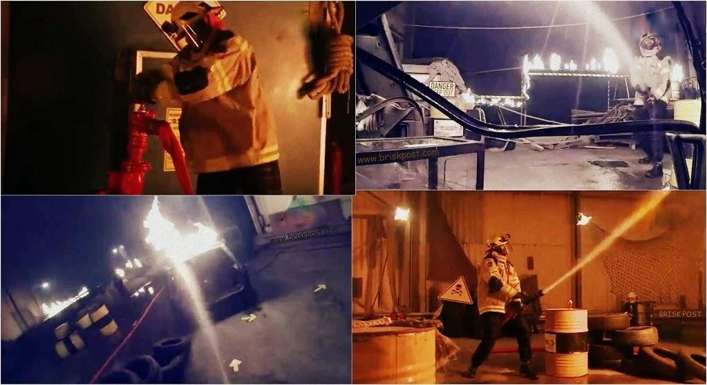 Fear Factor Khatron Ke Khiladi Darr Ka Blockbuster contestant hushing the fire caught by the car during Climax Stunt