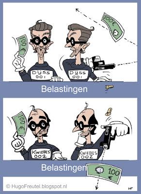 cartoon belasting loket van de Roverheid met Dijsselbloem sen Wiebes