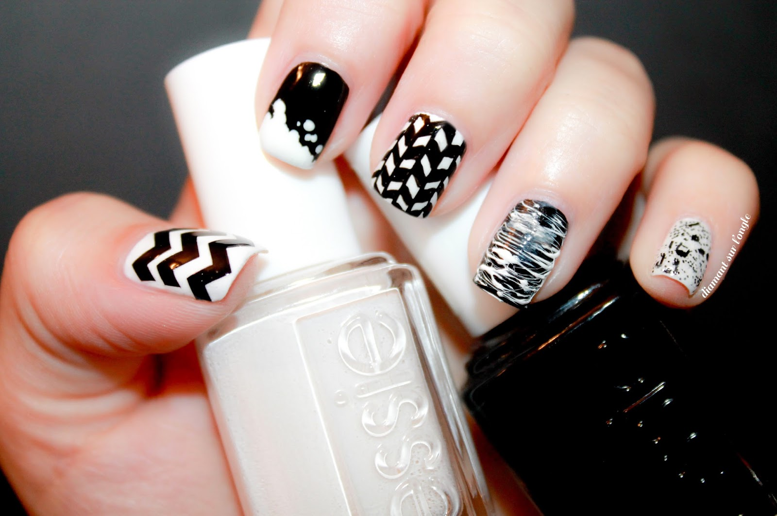 Black & White Mix & Match Nail Art