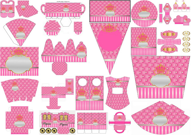 Free Printable Kit with Golden Crown in Pink.