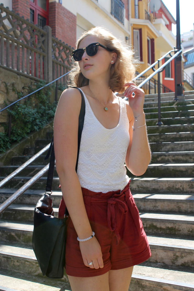 Linen shorts and lace up suede espadrilles #Paris #ootd