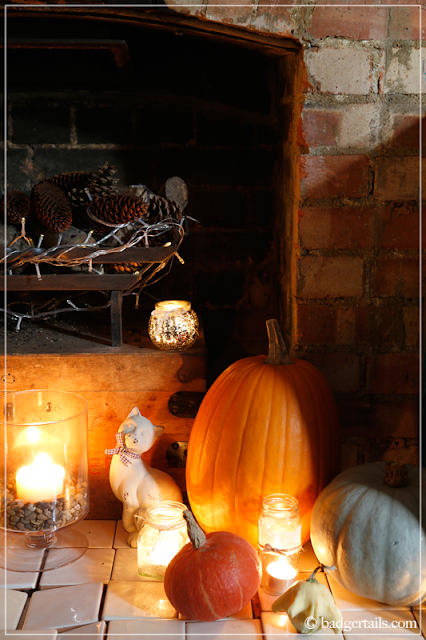 Autumn Pumpkin Display Fireplace, Fall Decor