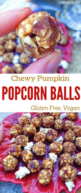 Chewy Pumpkin Popcorn Balls (Gluten free, Vegan)