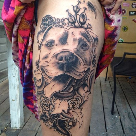 Awesome Dog Tattoos on Thigh