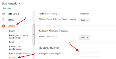 Dasbor Blogger Setelan Google Analytics