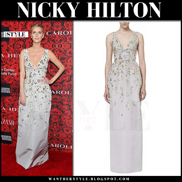 Nicky Hilton in silk sequin embroidered gown carolina herrera what she wore