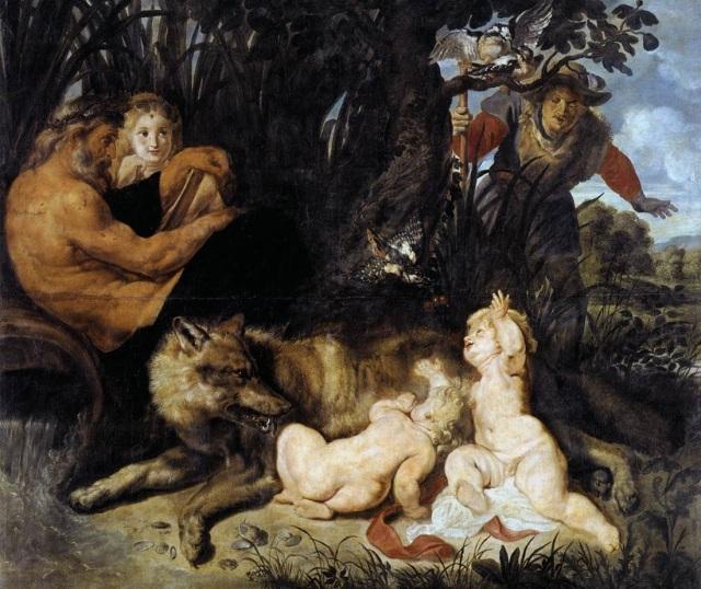 Remus i Romulus karmienie przez wilczycę pod drzewem figowym (P. P. Rubens)