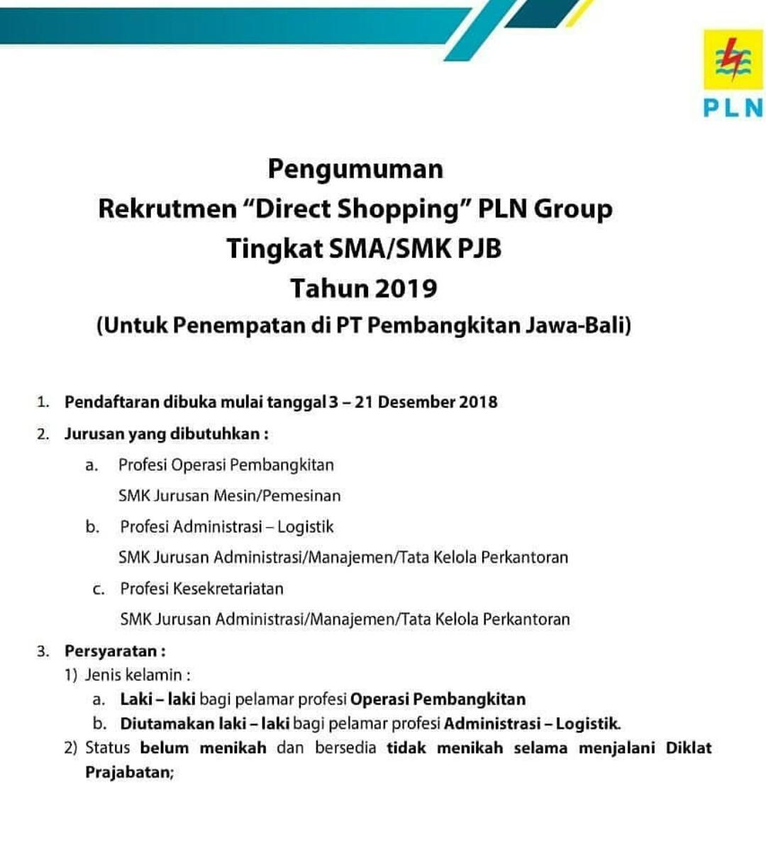 Lowongan Kerja Lowongan Kerja Sma Smk Pjb Pt Pln Persero Tahun 2019