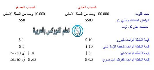 الحساب العادي Standard Account و الحساب المصغر Mini Account