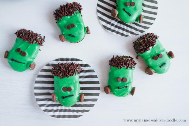 Frankenstein Halloween Cookies!  Pretty easy to make and the kiddos will definitely love them!  |  mynameissnickerdoodle.com