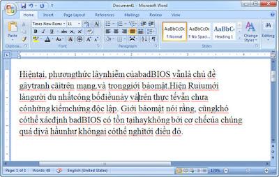 Cách khắc phục lỗi dính chữ trong Word