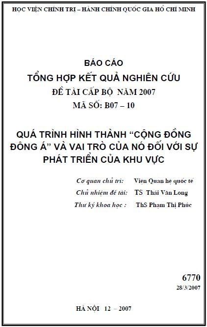 Quá trình hình thành Cộng đồng Đông Á và vai trò của nó đối với sự phát triển của khu vực
