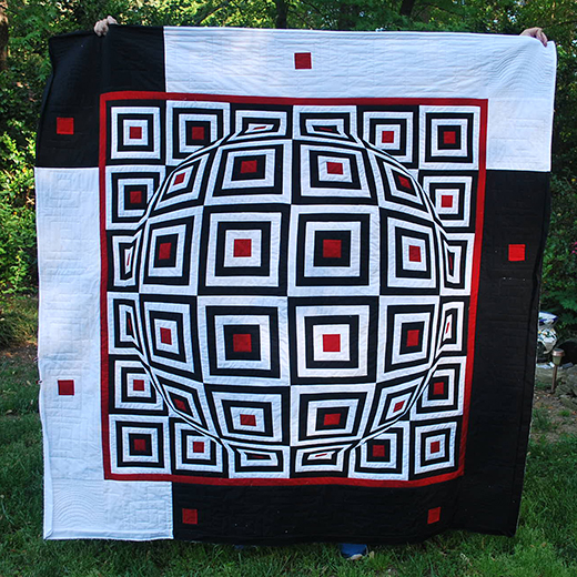 Log Cabin with a Lens Quilt by Mary Quilting from Quilting Board, The Pattern by Lerusisik