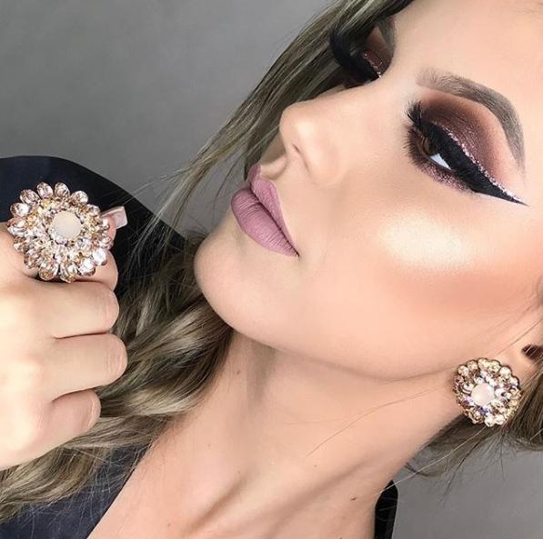 maquiagem  com glitter makeup