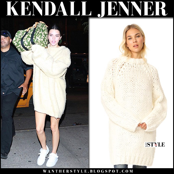 Kendall Jenner in cream oversized knit sweater r13 dress and white sneakers adidas september 2017 streetstyle