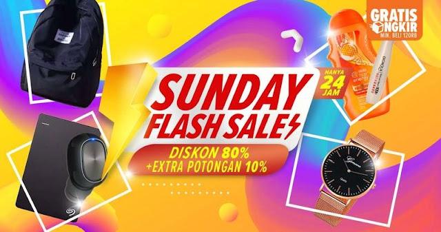 #Lazada - #Promo Sunday Flash Sale #Diskon 80% + Extra Potongan 10% (HANYA 24 Jam)