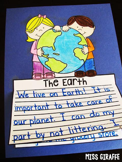 Earth Day writing activities that are NO PREP! Just print and kids simply write, color, cut, and glue to make a super easy Spring bulletin board to show how they take care of our planet