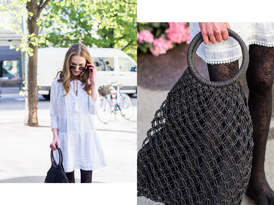 fashion-blogger-early-summer-outfit-white-dress-denim-jacket-macrame-woven-bag